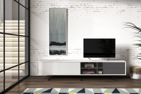 ТВ тумба DUPEN TV130 WHITE купить в салоне-студии мебели Барселона mnogospalen.ru много спален мебель Италии классические современные